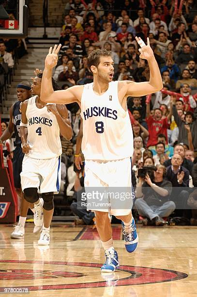 Jose Calderon of the Toronto Raptors celebrates after a play against the Memphis Grizzlies during the game on February 17 2010 at Air Canada Centre...