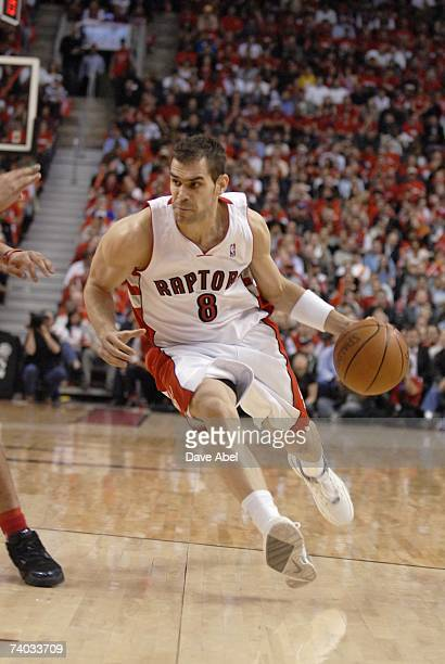 Jose Calderon of the Toronto Raptors drives to the basket in Game Two of the Eastern Conference Quarterfinals against the New Jersey Nets during the...