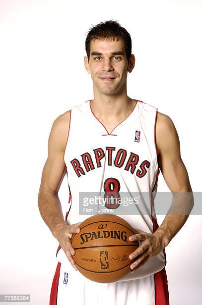 Jose Calderon of the Toronto Raptors poses for a portrait during a NBA media day at the Air Canada Centre on October 16 2007 in Toronto Ontario...
