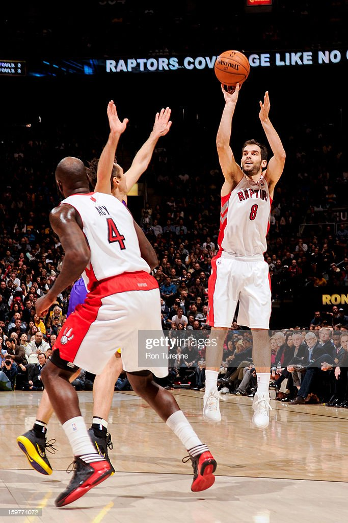 Jose Calderon #8 of the Toronto Raptors shoots a three-pointer against the Los Angeles Lakers on January 20, 2013 at the Air Canada Centre in Toronto, Ontario, Canada.