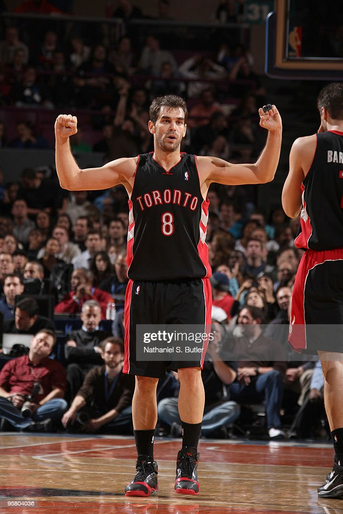 Jose Calderone #8 of the Toronto Raptors shows emotion during game against the New York Knicks on January 15, 2010 at Madison Square Garden in New York City.