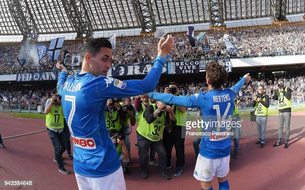 Jose Callejon Dries Mertens of SSC Napoli celebrate the victory after the serie A match between SSC Napoli and AC Chievo Verona at Stadio San Paolo...