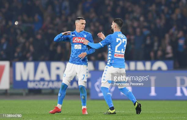 Jose Callejon of Napoli celebrates with teammate Elseid Hysaj after scoring the 12 goal during the Serie A match between SSC Napoli and Juventus at...