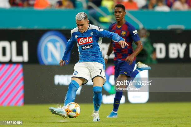 Jose Callejon of Napoli kicks the ball against FC Barcelona during a preseason friendly match at Hard Rock Stadium on August 07 2019 in Miami Florida
