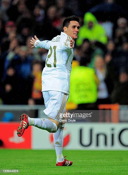 Jose Callejon of Real Madrid celebrates after scoring Real's fifth goal during the UEFA Champions League group D match between Real Madrid and Dinamo...