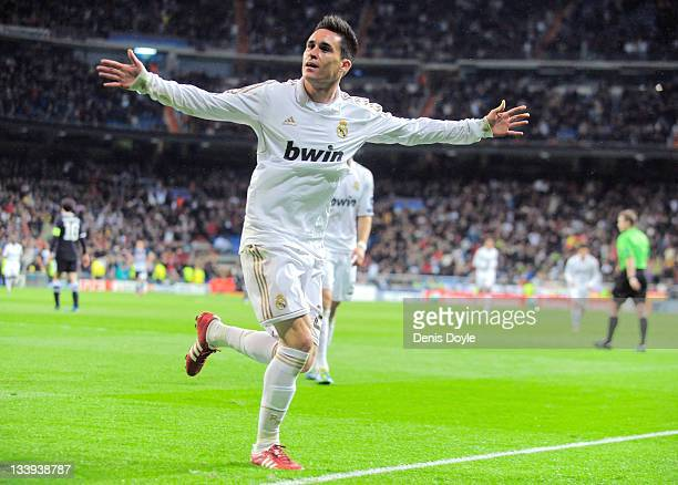 Jose Callejon of Real Madrid celebrates after scoring Real's second goal during the UEFA Champions League group D match between Real Madrid and...