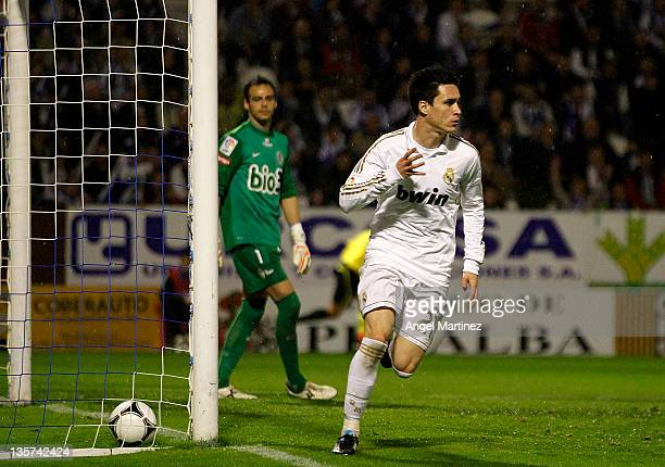 Jose Callejon of Real Madrid celebrates after scoring the opening goal during the round of last 16 Copa del Rey first leg match between Ponferradina...