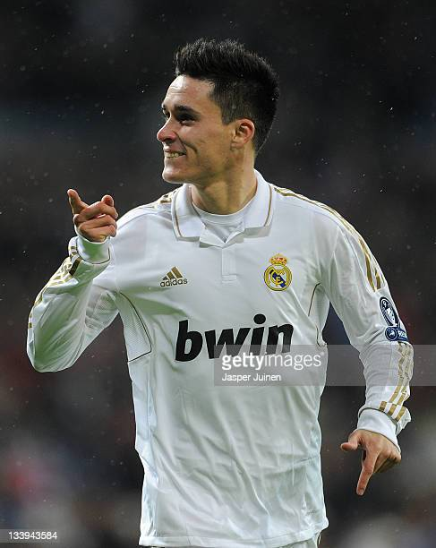 Jose Callejon of Real Madrid celebrates scoring during the UEFA Champions League group D match between Real Madrid and GNK Dinamo Zagreb at Estadio...