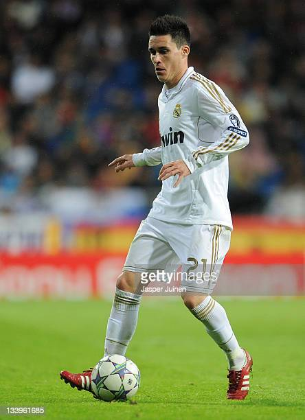 Jose Callejon of Real Madrid controls the ball during the UEFA Champions League group D match between Real Madrid and GNK Dinamo Zagreb at Estadio...
