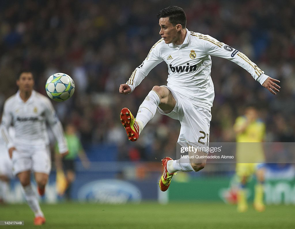 Jose Callejon of Real Madrid controls the ball during the UEFA Champions League quarter-final second leg match between Real Madrid and APOEL FC at Bernabeu on April 4, 2012 in Madrid, Spain.