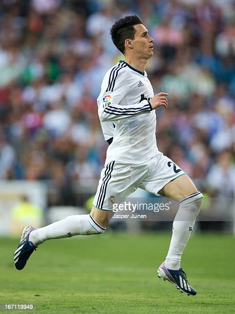 Jose Callejon of Real Madrid in action during the la Liga match between Real Madrid CF and Real Betis Balompie at Estadio Santiago Bernabeu on April...