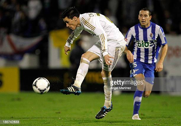 Jose Callejon of Real Madrid in action during the round of last 16 Copa del Rey first leg match between Ponferradina and Real Madrid at Estadio El...
