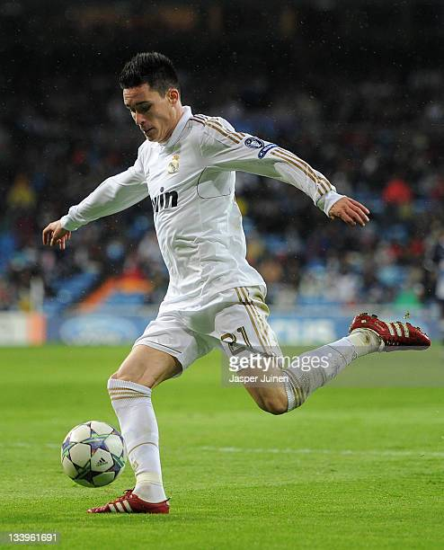 Jose Callejon of Real Madrid strikes the ball during the UEFA Champions League group D match between Real Madrid and GNK Dinamo Zagreb at Estadio...