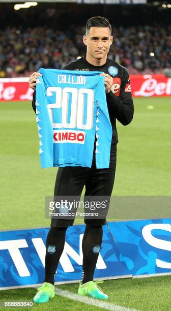 Jose Callejon of SSC Napoli celebrate his 200th caps with Napoli before the Serie A match between SSC Napoli and Udinese Calcio at Stadio San Paolo...