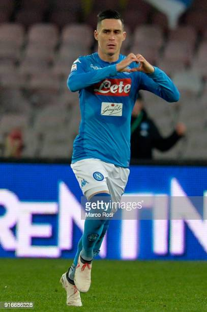 Jose' Callejon of SSC Napoli celebrates a frist goal during the serie A match between SSC Napoli and SS Lazio at Stadio San Paolo on February 10 2018...