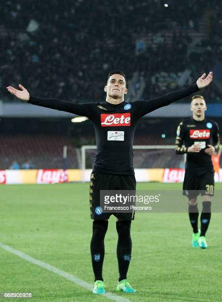 Jose Callejon of SSC Napoli celebrates after scoring goal 30 during the Serie A match between SSC Napoli and Udinese Calcio at Stadio San Paolo on...