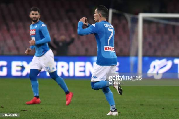 Jose Callejon of SSC Napoli celebrates after scoring the 11 goal during the serie A match between SSC Napoli and SS Lazio at Stadio San Paolo on...