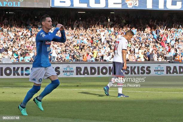 Jose Callejon of SSC Napoli celebrates after scoring the 20 goal beside the disappointment of Davide Faraoni of FC Crotone during the Serie A match...