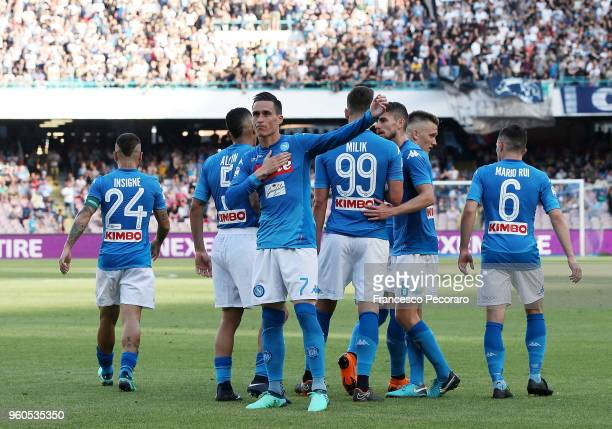 Jose Callejon of SSC Napoli celebrates after scoring the 20 goal during the Serie A match between SSC Napoli and FC Crotone at Stadio San Paolo on...