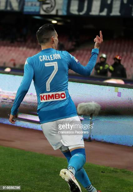 Jose Callejon of SSC Napoli celebrates after the 21 own goal scored by Wallace during the serie A match between SSC Napoli and SS Lazio at Stadio San...