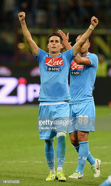 Jose Callejon of SSC Napoli celebrates victory at the end of the Serie A match between AC Milan and SSC Napoli at San Siro Stadium on September 22...