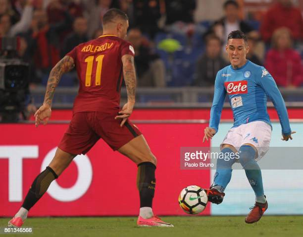 Jose' Callejon of SSC Napoli competes for the ball with Aleksandar Kolarov of AS Roma during the Serie A match between AS Roma and SSC Napoli at...
