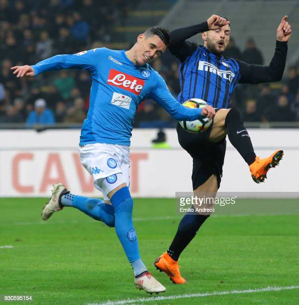 Jose' Callejon of SSC Napoli competes for the ball with Danilo D Ambrosio of FC Internazionale Milano during the serie A match between FC...