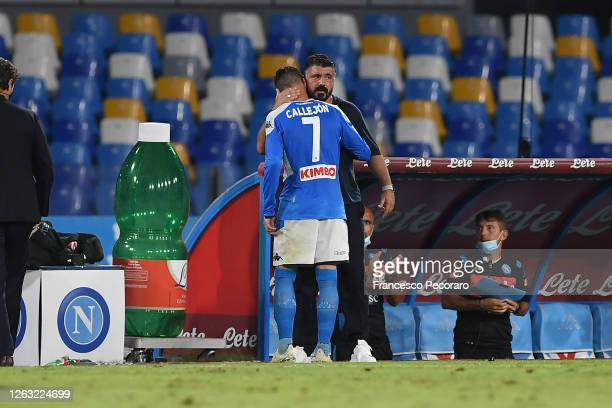 Jose Callejon of SSC Napoli greets his coach Gennaro Gattuso during his last game with SSC Napoli during the Serie A match between SSC Napoli and SS...