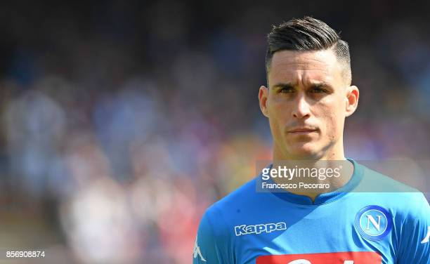 Jose Callejon of SSC Napoli in action during the Serie A match between SSC Napoli and Cagliari Calcio at Stadio San Paolo on October 1 2017 in Naples...