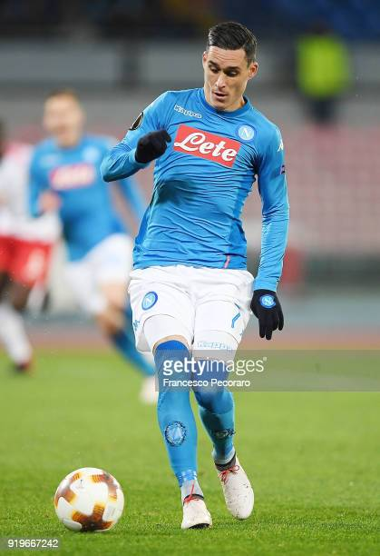 Jose Callejon of SSC Napoli in action during UEFA Europa League Round of 32 match between Napoli and RB Leipzig at the Stadio San Paolo on February...