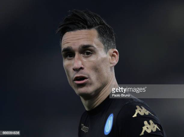 Jose' Callejon of SSC Napoli looks on during the Serie A match between SS Lazio and SSC Napoli at Stadio Olimpico on April 9 2017 in Rome Italy