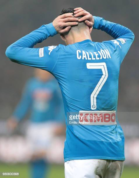Jose' Callejon of SSC Napoli reacts during the serie A match between FC Internazionale and SSC Napoli at Stadio Giuseppe Meazza on March 11 2018 in...