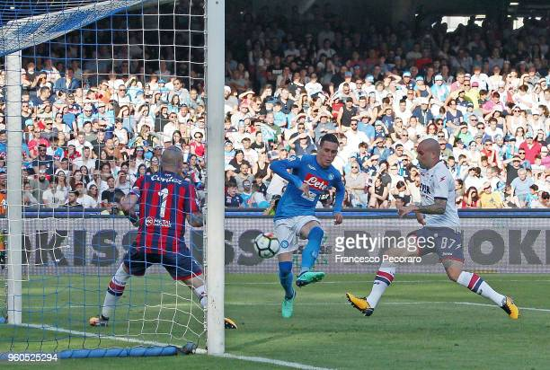 Jose Callejon of SSC Napoli scores the 20 goal during the Serie A match between SSC Napoli and FC Crotone at Stadio San Paolo on May 20 2018 in...
