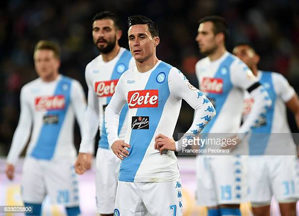 Jose Callejon of SSC Napoli show his disappointment after the Serie A match between SSC Napoli and US Citta di Palermo at Stadio San Paolo on January...