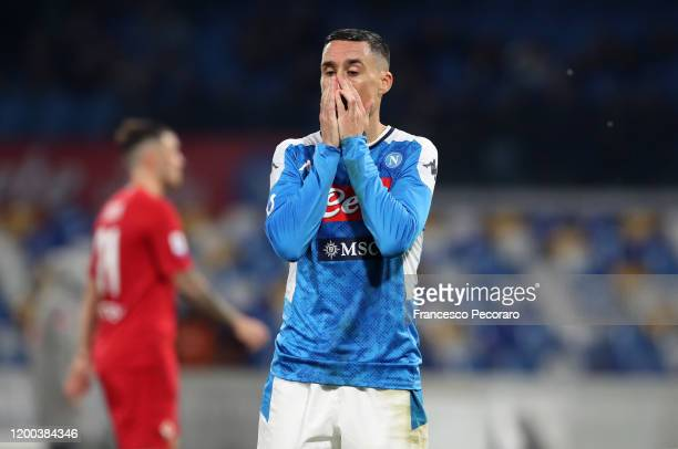 Jose Callejon of SSC Napoli stands disappointed during the Serie A match between SSC Napoli and ACF Fiorentina at Stadio San Paolo on January 18 2020...