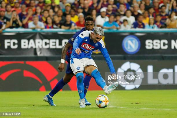 Jose Callejon of SSC Napoli takes a shot on goal against FC Barcelona during a preseason friendly match at Hard Rock Stadium on August 07 2019 in...