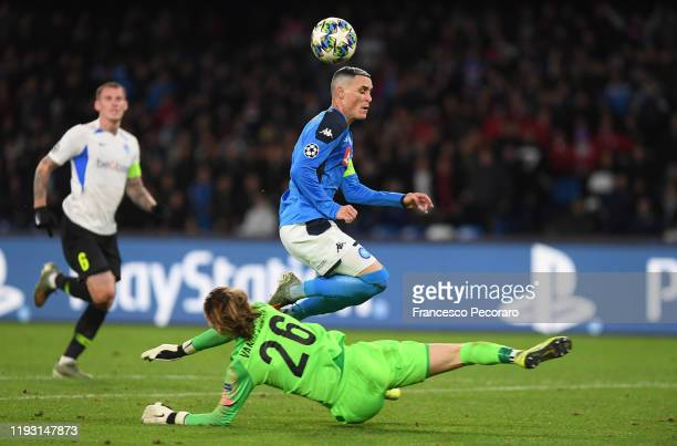 Jose Callejon of SSC Napoli vies with Maarten Vandevoordt of KRC Genk during the UEFA Champions League group E match between SSC Napoli and KRC Genk...