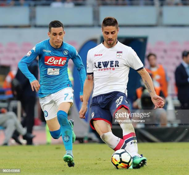 Jose Callejon of SSC Napoli vies with Marco Capuano of FC Crotone during the Serie A match between SSC Napoli and FC Crotone at Stadio San Paolo on...