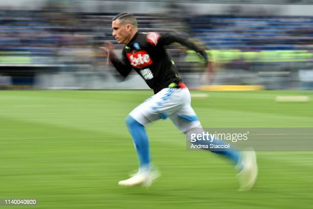 Jose Callejon of SSC Napoli warms up prior to the match between Frosinone Calcio and SSC Napoli. SSC Napoli won 2-0 over Frosinone Calcio.