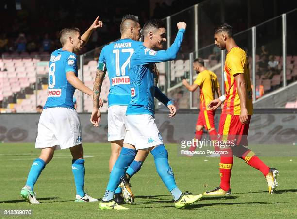 Jose Calleon Jorginho and Marek Hamsik of SSC Napoli celebrate the 40 goal scored by Jose Calleon beside the disappointment of Achraf Lazaar player...
