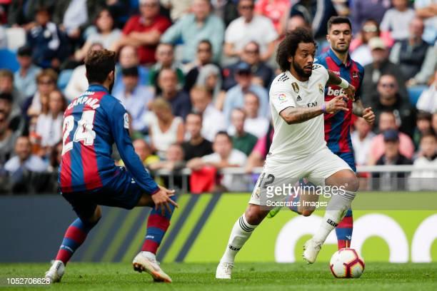 Jose Campana of Levante UD Marcelo of Real Madrid during the La Liga Santander match between Real Madrid v Levante at the Santiago Bernabeu on...