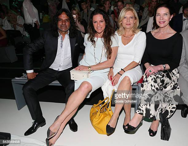 Jose Campos, Christine Neubauer, Sabine Postel and Jeanette Hain attend the Minx by Eva Lutz show during the Mercedes-Benz Fashion Week Berlin...