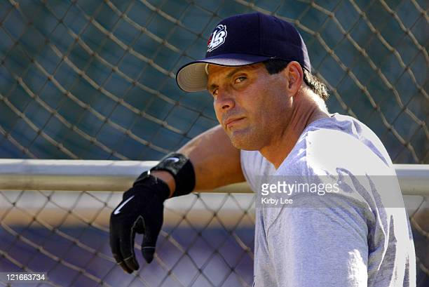 Jose Canseco during batting practice before making his debut with the Long Beach Armada in the Golden League Baseball game against the Reno Silver...