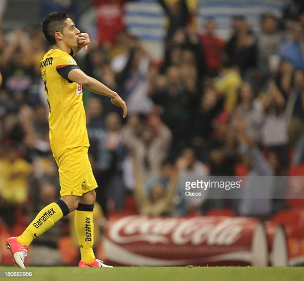 Jose Cardenas of America celebrate a goal during a match between America v Correcaminos as part of the Copa Mx at Azteca Stadium on August 22 2012 in...