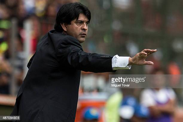 Jose Cardoso coach of Toluca reacts during a match between Toluca and America as part of the 17th round Clausura 2014 Liga MX at Nemesio Diez Stadium...