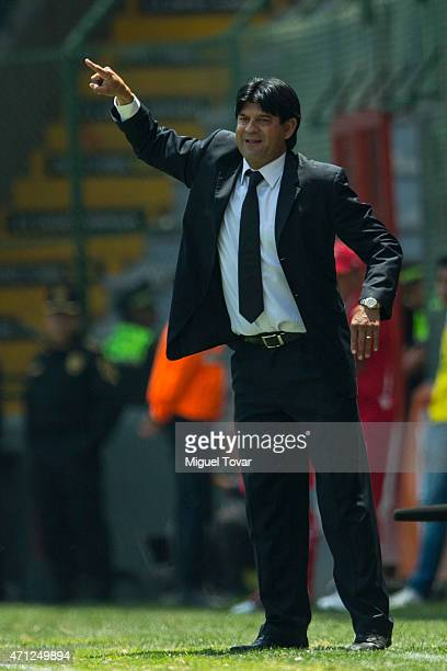 Jose Cardoso head coach of Toluca gestures during a match between Toluca and Tijuana as part of 15th round of Clausura 2015 Liga MX at Nemesio Diez...