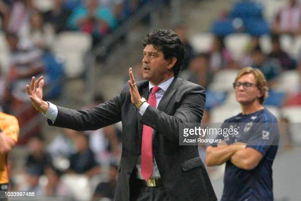 Jose Cardozo, coach of Chivas, gives instructions during the 9th round match between Monterrey and Chivas as part of the Torneo Apertura 2018 Liga MX...