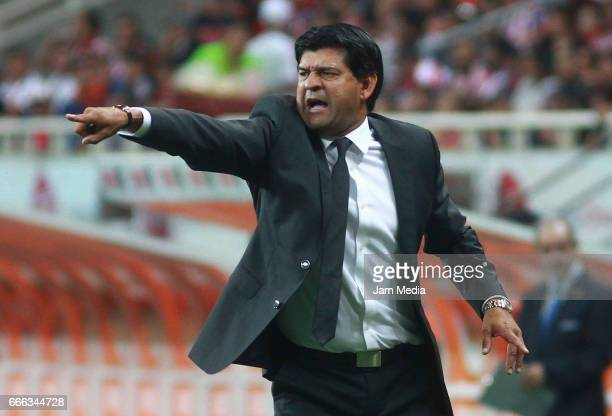 Jose Cardozo coach of Puebla gives instructions during the 13th round match between Chivas and Puebla as part of the Torneo Clausura 2017 Liga MX at...