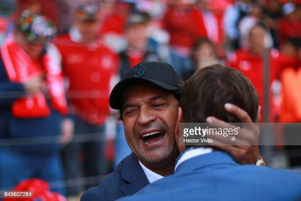Jose Cardozo coach of Puebla greets Hernan Cristante coach of Toluca prior the 8th round match between Toluca and Puebla as part of the Torneo...