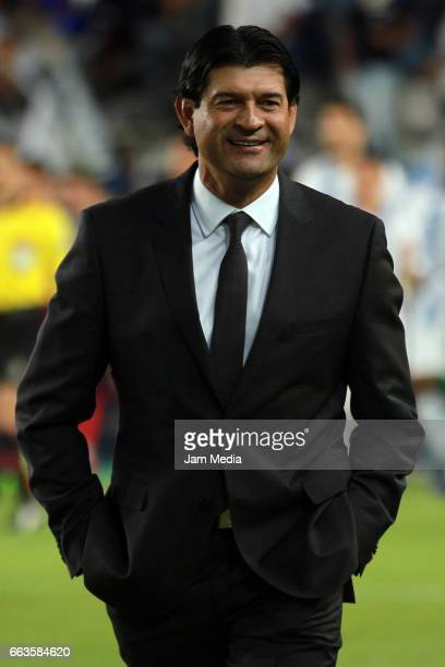 Jose Cardozo coach of Puebla looks on during a match between Pachuca and Puebla as part of Clausura Tournament 2017 league Bancomer MX at Hidalgo...
